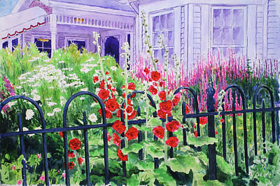 Guesthouse Painting - Yelton Manor Guesthouse And Fence by William Tockes