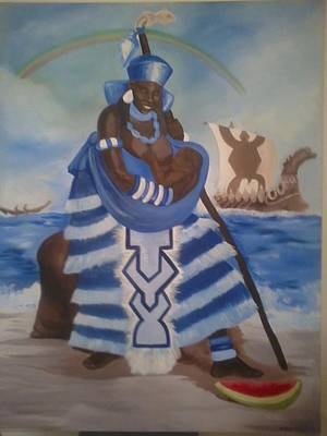 Of Yemaya Painting - Yemaya - Mother Of The Ocean by Sula janet Evans