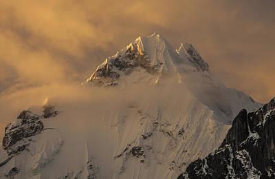 Yerupaja Summit Ridge 6617m At Sunset Print by Colin Monteath