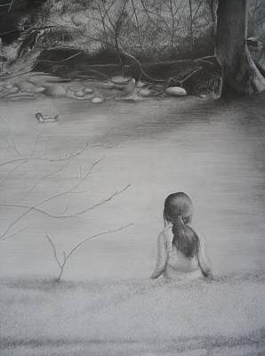 Duck Water Pencil Drawing - Yesterday And Yonder by Halle Miroglotta