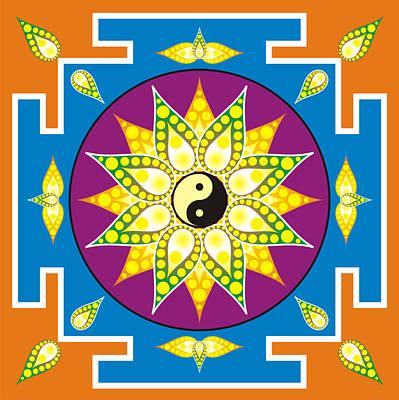 Esoteric Digital Art - Yin Yang Mandala by Steeve Dubois