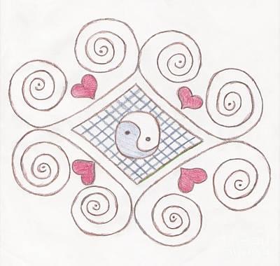 Jordan Drawing Drawing - Yin Yang Swirls Pastel by Jeannie Atwater Jordan Allen