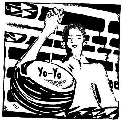 Alphabet Mazes Drawing - Yo Yo Maze by Yonatan Frimer Maze Artist