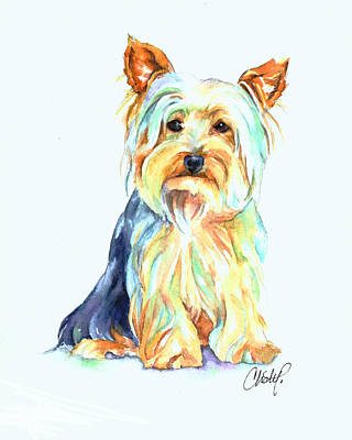 Yorkshire Terrier Wall Art - Painting - Yorkie Dog Portrait by Christy  Freeman