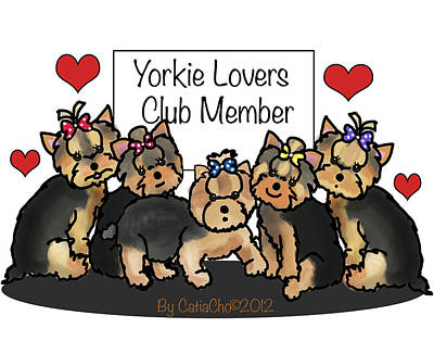 Mixed Media - Yorkie Lovers Club Member by Catia Cho
