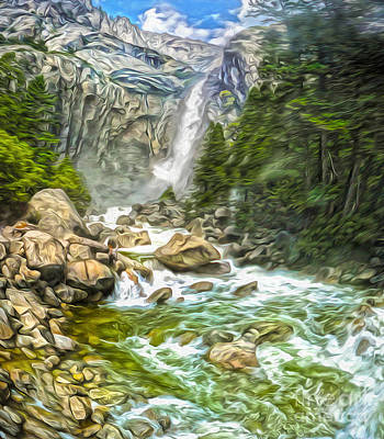 Painting - Yosemite - Angel Falls - 01 by Gregory Dyer