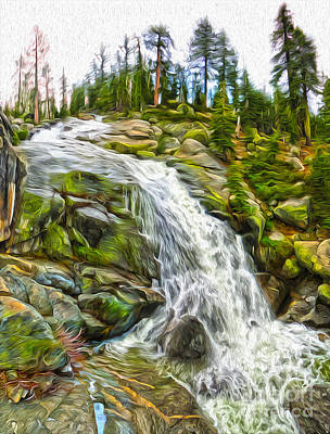 Painting - Yosemite - Waterfall by Gregory Dyer