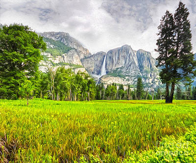 Painting - Yosemite Falls by Gregory Dyer