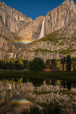Yosemite Falls Moonbow Reflection Art Print by Marc Crumpler