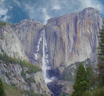 Digital Art - Yosemite Falls - Yosemite National Park by Jim Pavelle