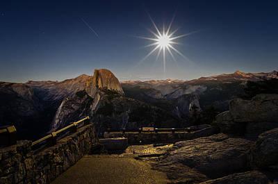 Yosemite National Park Half Dome Full Moon Art Print by Scott McGuire