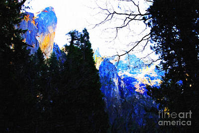 Yosemite Snow Top Mountains Art Print by Wingsdomain Art and Photography