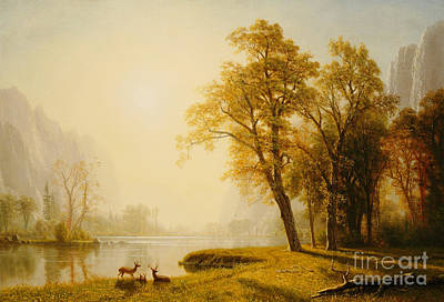 Wildlife Landscape Painting - Yosemite Valley by Albert Bierstadt
