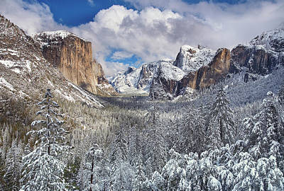 Yosemite Valley In Snow Art Print by Www.brianruebphotography.com