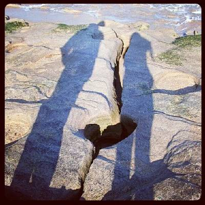 Shadow Photograph - You And I #heart #love #couple #beach #2 by Mandy Shupp