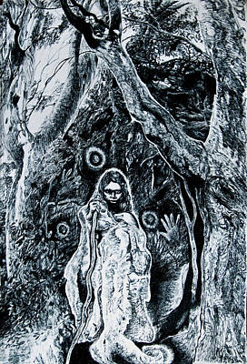 Wetlands Drawing - Young Aboriginal Woman And River Red Gum by Helen Duley
