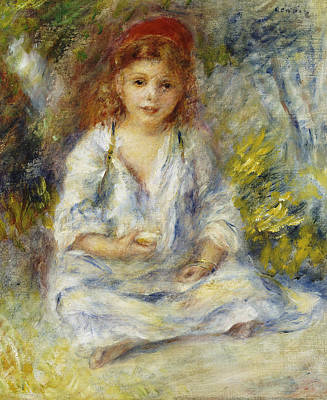 Little Girls In Garden Painting - Young Algerian Girl by Pierre Auguste Renoir