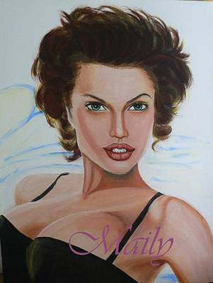 Young Angilina Jolie Art Print by Maily
