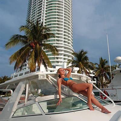 Young Beautiful Women On The Sunny Tropical Beach In Bikini  Original by Anton Oparin