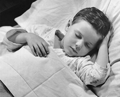 Young Boy Asleep In Bed Art Print by George Marks