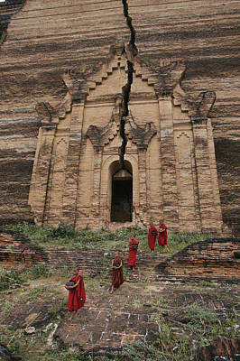 Young Buddhist Monks Near A Ruined Art Print by Paul Chesley