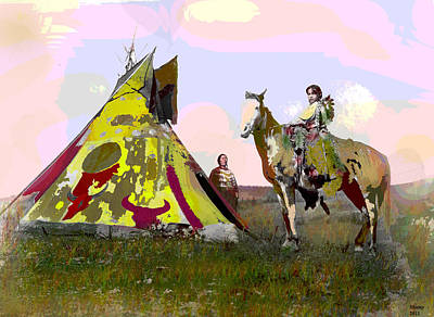 Art Print featuring the mixed media Young Chief by Charles Shoup