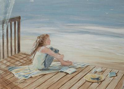 Young Christina By The Beach Art Print by Tina Obrien