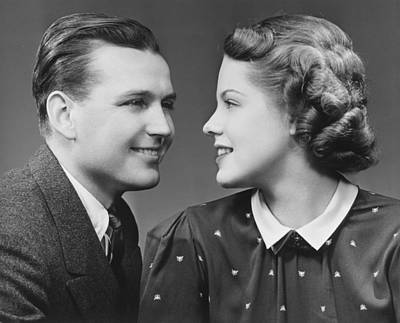Young Couple Looking In Eyes In Studio, (b&w), Portrait Art Print