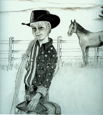 Young Cowboy Art Print by Carolyn Ardolino