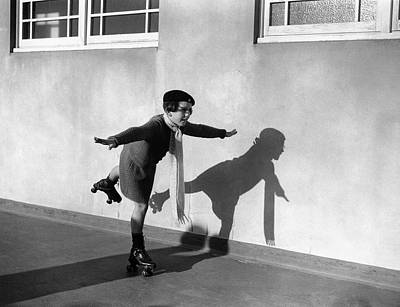 Young Girl (7-9) On Rollerskates (b&w) Art Print by Hulton Archive