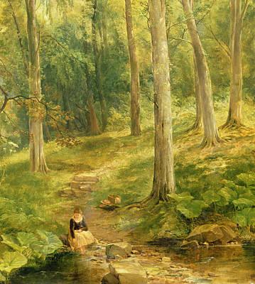 Young Girl Bathing Her Feet Art Print by Thomas Creswick