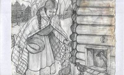 Young Girl Feeding The Chickens In The 1800's Art Print