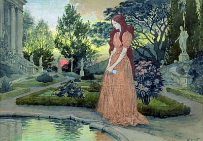 Girl In Landscape Painting - Young Girl In A Garden  by Eugene Grasset