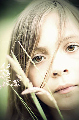 Young Girl In Field Of Grasses Art Print
