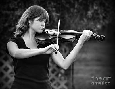 Violin Photograph - Young Girl Plays Arbor Strings by Wayne Nielsen