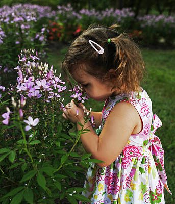 Photograph - Young Girl Smelling Flowers by Sheila Kay McIntyre