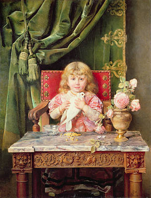 Flower Child Painting - Young Girl With A Dove   by Ignacio Leon y Escosura