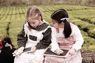 Miguel Drawings Photograph - Young Girls Doodling by Gaspar Avila