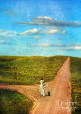 Young Lady Deciding Which Road To Take Art Print by Jill Battaglia