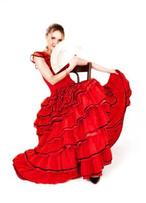 Photograph - Young Lady In Hispanic Red Dress 02 by Vlad Baciu