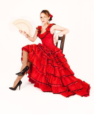 Photograph - Young Lady In Hispanic Red Dress 03 by Vlad Baciu
