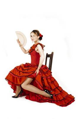 Photograph - Young Lady In Hispanic Red Dress 04 by Vlad Baciu