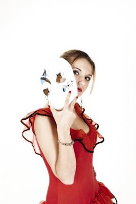 Photograph - Young Lady In Hispanic Red Dress Behind A Venetian Mask 01 by Vlad Baciu