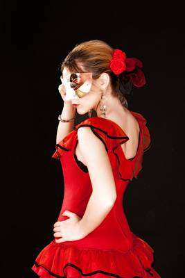 Photograph - Young Lady In Hispanic Red Dress Behind A Venetian Mask 03 by Vlad Baciu