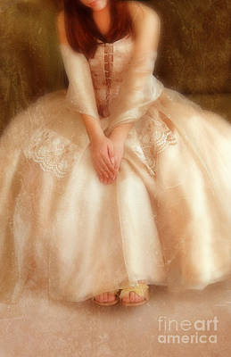 Young Lady Sitting In Satin Gown Art Print by Jill Battaglia