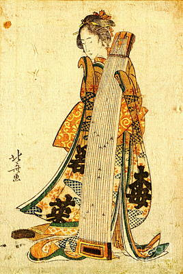 Young Maiden With Koto 1800 Art Print