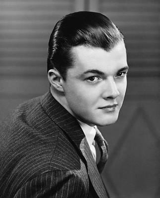Young Man Wearing Pinstripe Jacket, (b&w), Portrait Art Print by George Marks