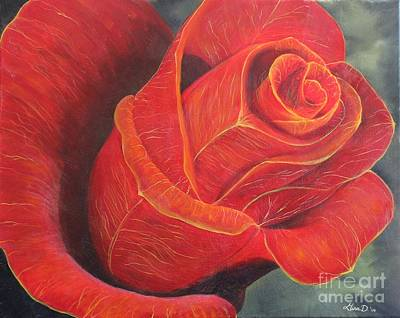 Young Rose Art Print by Gina DeRuggiero