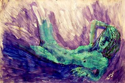 Young Statue Of Liberty Falling From Grace Female Figure Portrait Painting In Green Purple Blue Original by MendyZ M Zimmerman