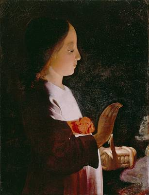 Virgin Mary Photograph - Young Virgin Mary by Georges de la Tour